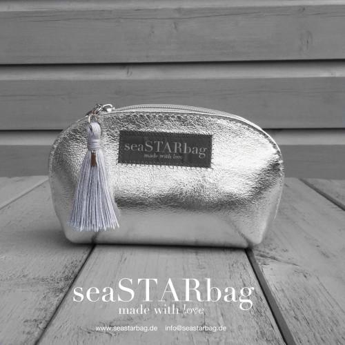 seaSTARbag Leder-Kosmetiktäschchen  silber