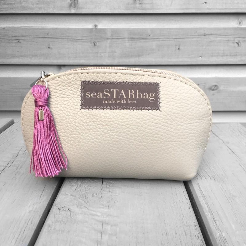 seaSTARbag Leder-Kosmetiktäschchen pink